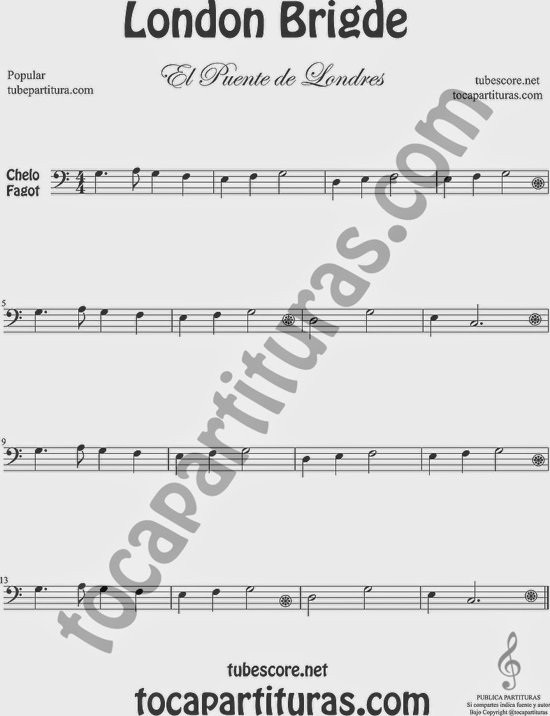 El Puente de Londres Partitura de Violonchelo y Fagot Sheet Music for Cello and Bassoon Music Scores London Bridge