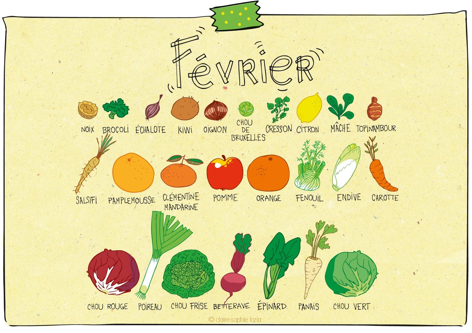 F vrier calendrier des fruits et l gumes pissenlit - Fruits et legumes decembre ...