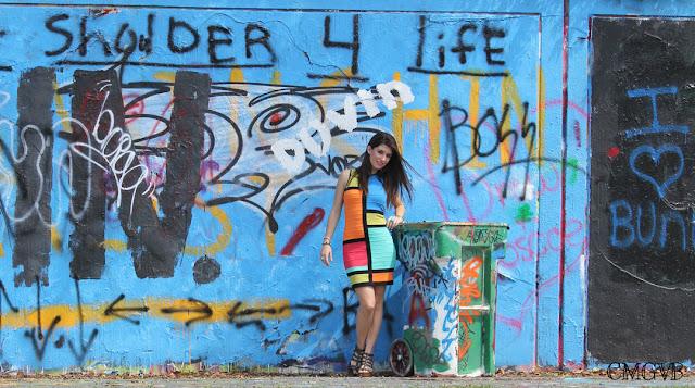 diana dazzling, fashion blogger, cmgvb, como me gusta vivir bien, graffiti, bandage dress, multicolor