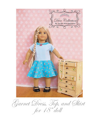 http://www.tiedyedivapatterns.com/product/garnet-dress-top-and-skirt-pattern-for-18-doll-like-american-girl