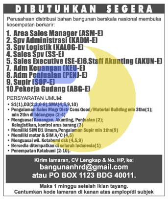 Lowongan Manager, Admin, Supervisor, Sopir di Lampung