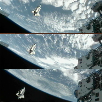 Shuttle Discovery: Fly-by around ISS with the cargo bay open and Canadarm1 exposed. Surveying the ISS – 7 march 2011. NASA, 2011.