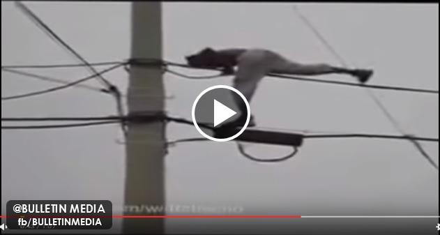 [VIDEO] AJAL MENJEMPUT!! Lelaki Direnjat Arus Elektrik Semasa Menari Di Atas Kabel Elektrik!!!