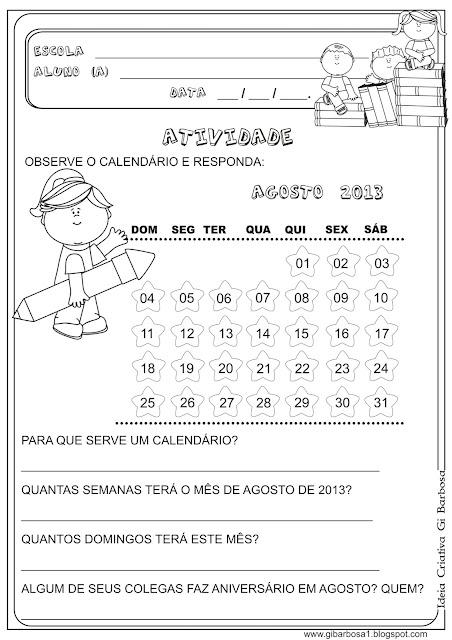 Atividade Sondagem Calendário 1° e 2° ano