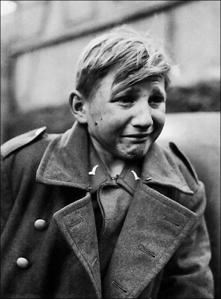 WW2  German boy soldier in tears