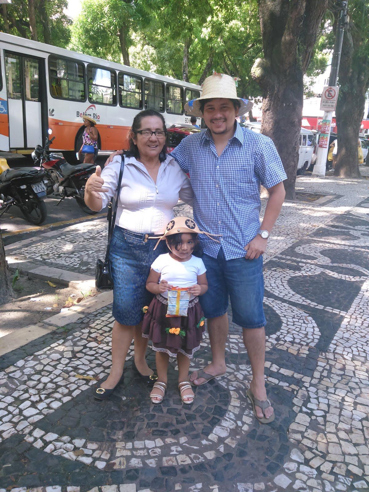 Eu e Meu Filho AdJúnior e a filha dele, a Minha neta Marina Nancy em Belém do Pará