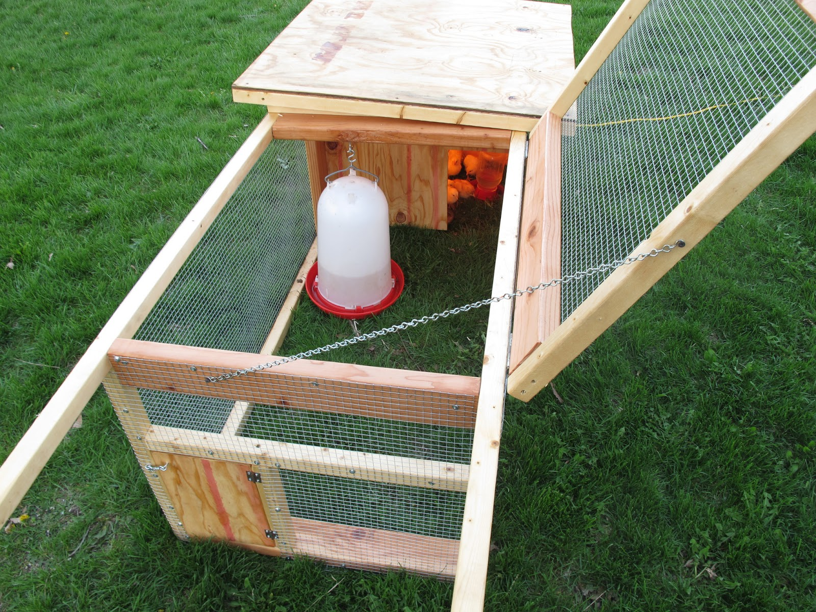 Joe 39 s garden journal diy outdoor chicken brooder broody for Diy chicken feeder light