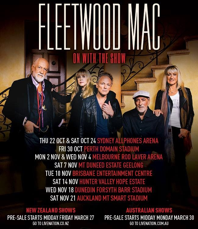 Fleetwood Mac New Zealand And Australia On With The Show Tour Dates