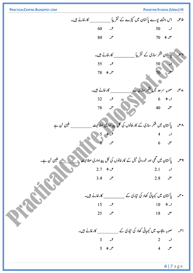 industrial-development-in-pakistan-mcqs-pakistan-studies-urdu-9th
