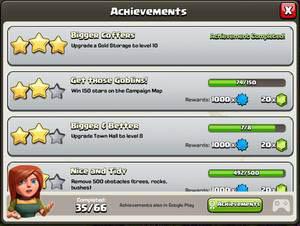 kempulan mendapatkan gems coc dengan achievements