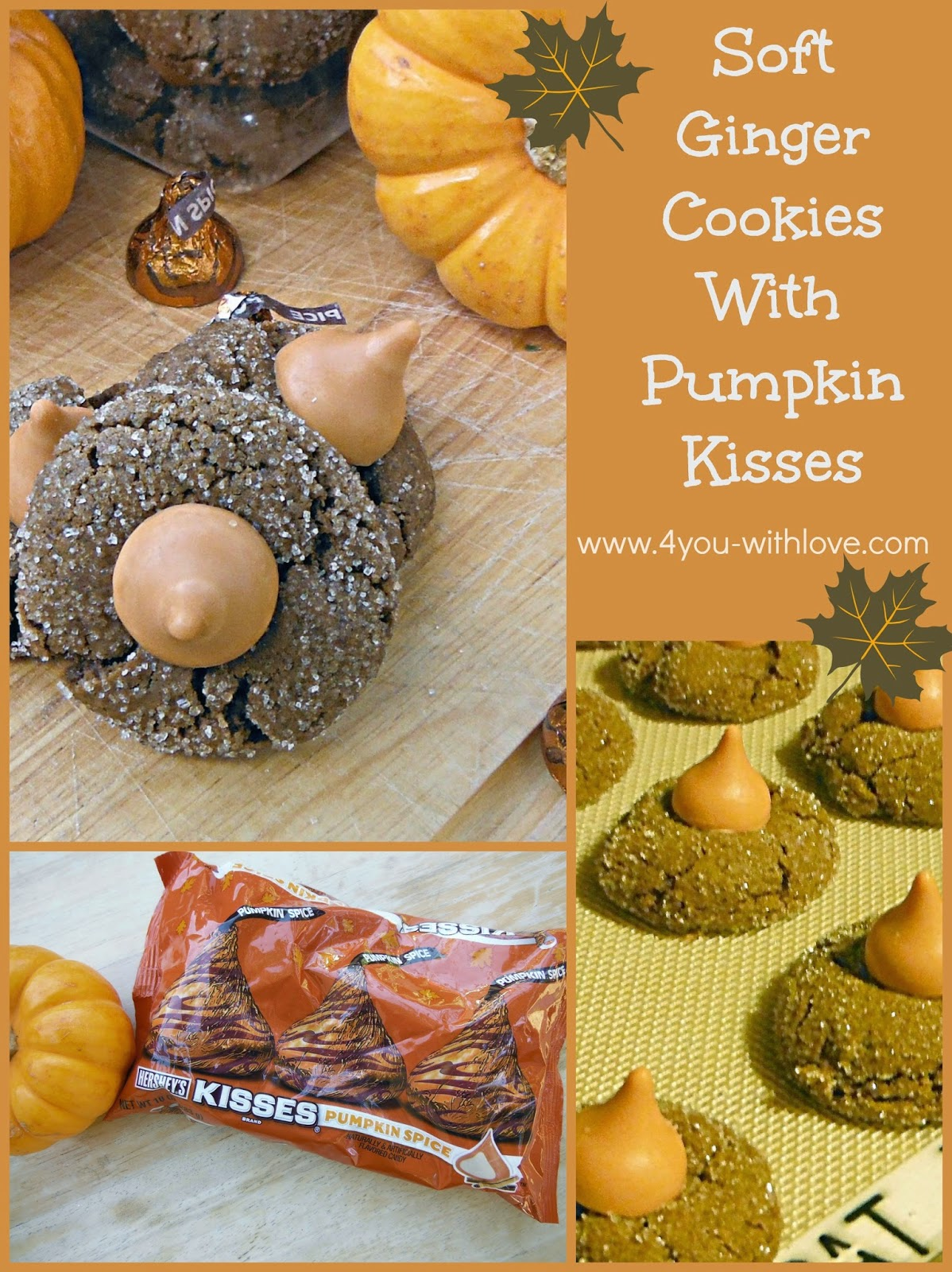 soft ginger cookies with pumpkin spice kisses