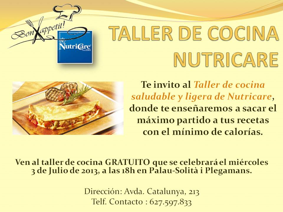 Nutricare servicio vip taller de cocina nutricare for Taller de cocina teruel