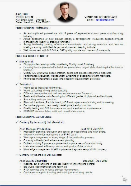 Format Of Good Resume