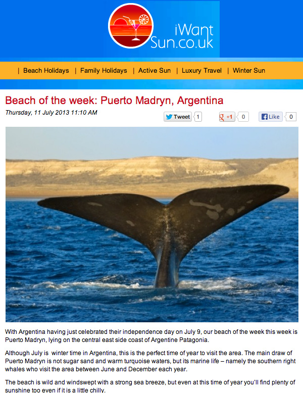 "I Want Sun web site, distinguished Puerto Madryn with The award ""BEACH OF THE WEEK"". All around the world"