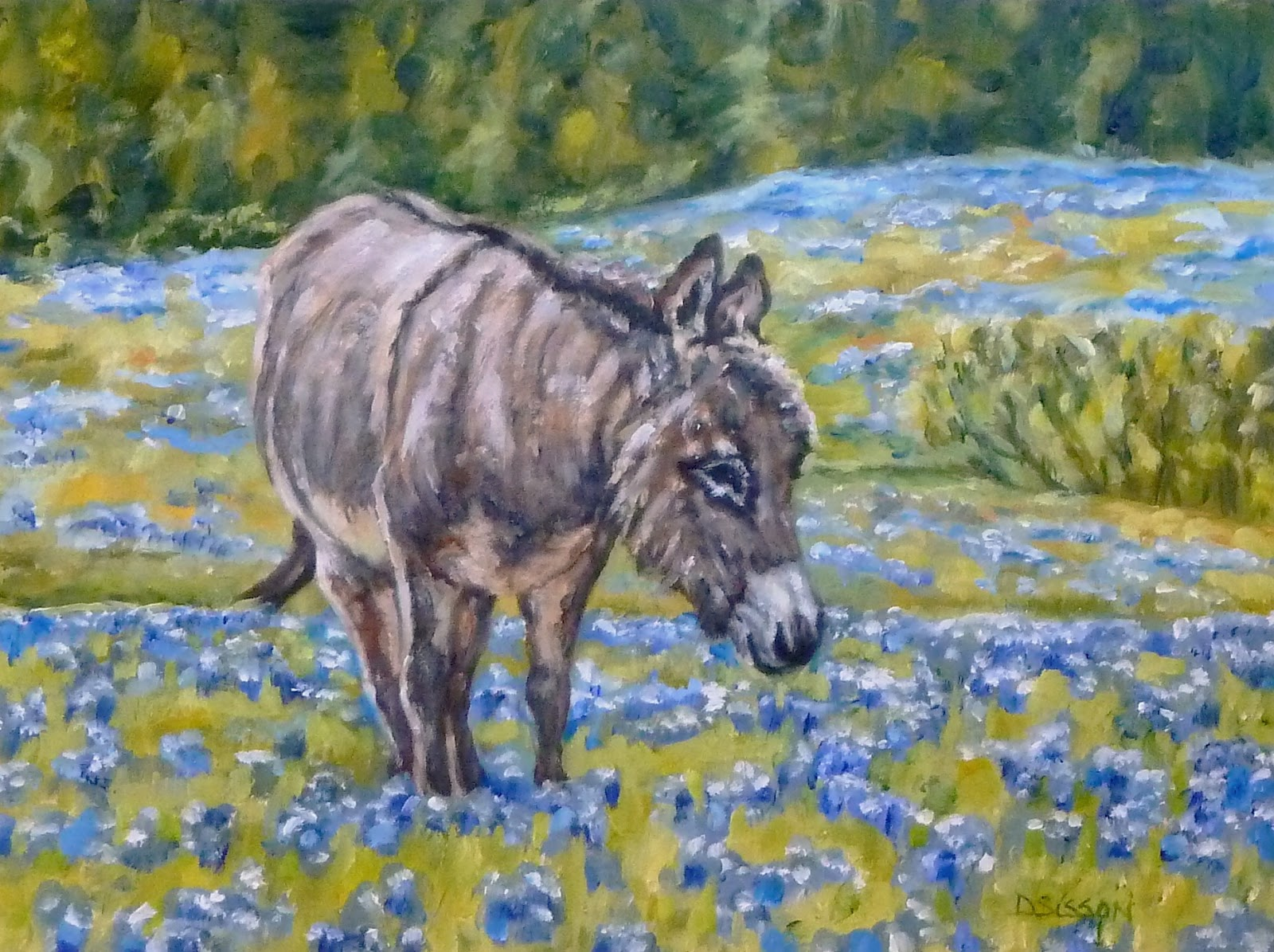Daily painting projects donkey in bluebonnets oil for Animal oil paintings