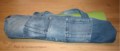 Recycling of jeans: yoga carpet bag by Gunadesign