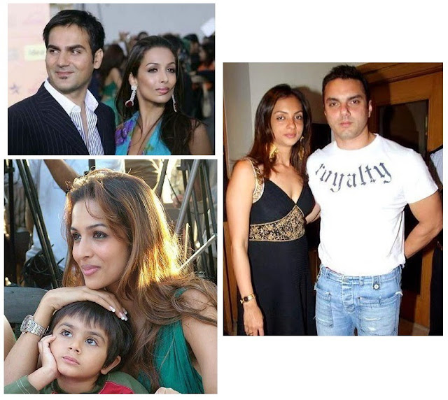 Malaika with Arhaan (son ) Arbaaz (husband) And Sohail Khan with his wife Seema Sachdeva