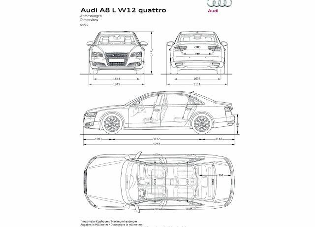 Audi A8 L W12 Dimensions