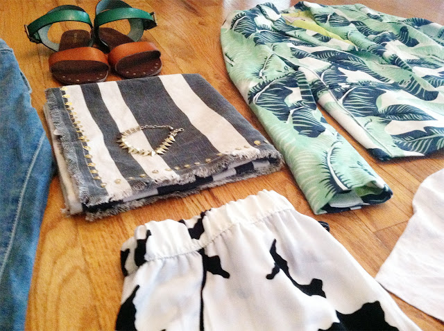 Target, Juicy Couture, Zara, sandals, palm print, scarf, tee, cow print