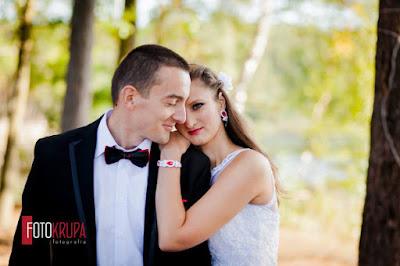 Czerwona biżuteria ślubna, komplet.