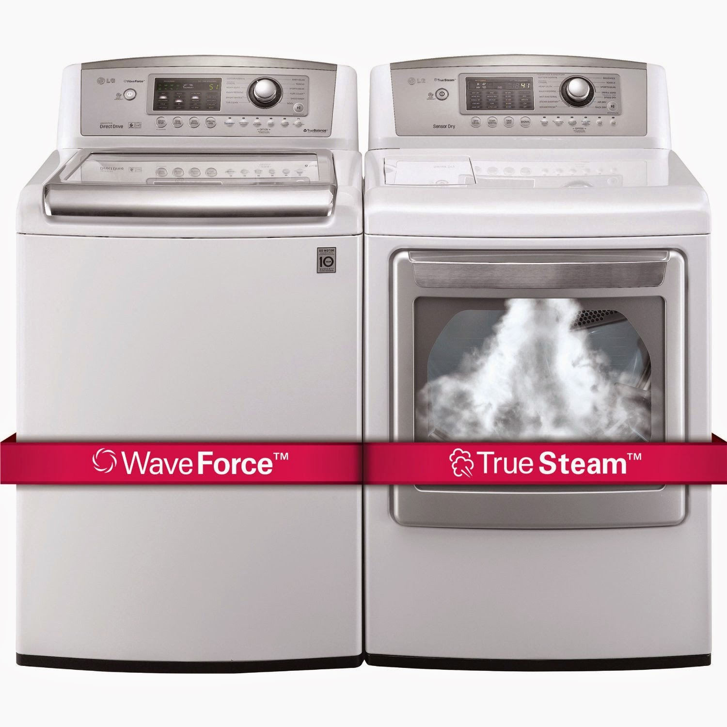 lg ultra large capacity top load laundry pair with waveforce technology washer