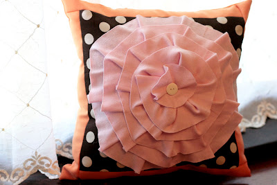 sewing rosette ruffle pillow for home decor and gifts