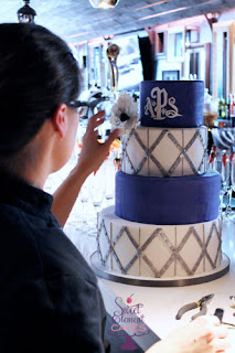 white wedding cake, groom's cake