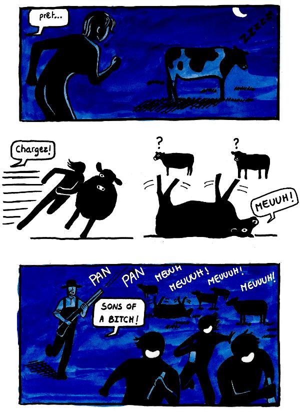 bande dessinee ou j'explique le cow tipping (renverse-vache)