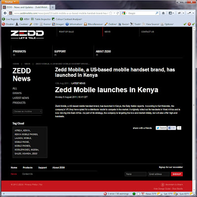 Screen shot of http://www.zeddmobile.com/news/post/13/zedd-mobile-a-us-based-mobile-handset-brand-has-launched-in-kenya.html.
