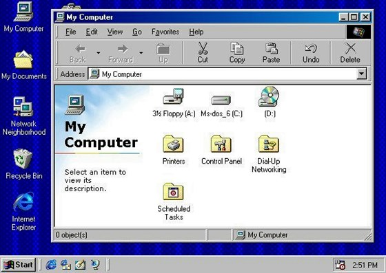 No Windows 98 o navegador Internet Explorer tornou-se uma parte do sistema