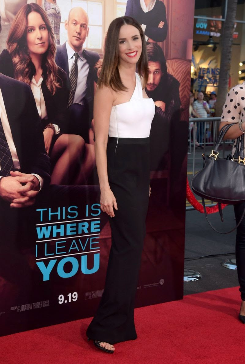Abigail Spencer wears a monochrome Paule Ka gown to the 'This Is Where I Leave You' Hollywood premiere