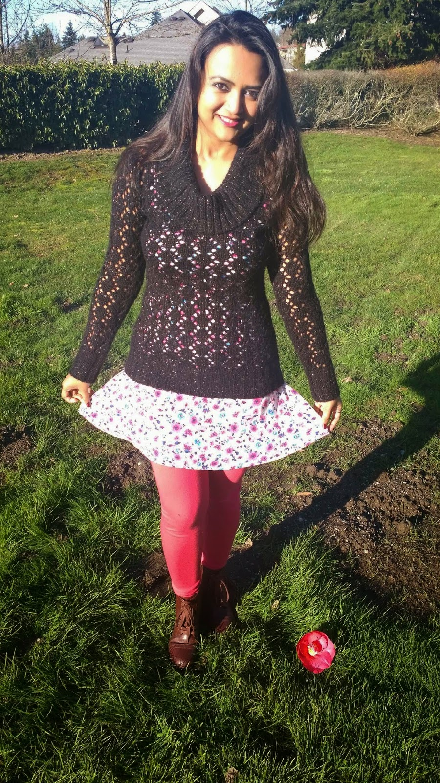 how to wear summer dress in winter, floral skater dress, layering of a dress, pink dress with black sweater