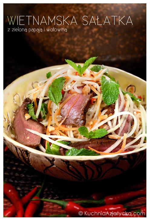 Wietnamska sałatka z zieloną papają i wołowiną  KuchniaAzjatycka.com