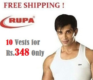 Get 10 Nos. Rupa Jon Premium Vests (Sleeveless) worth Rs.798 for Rs.348 with Free Shipping