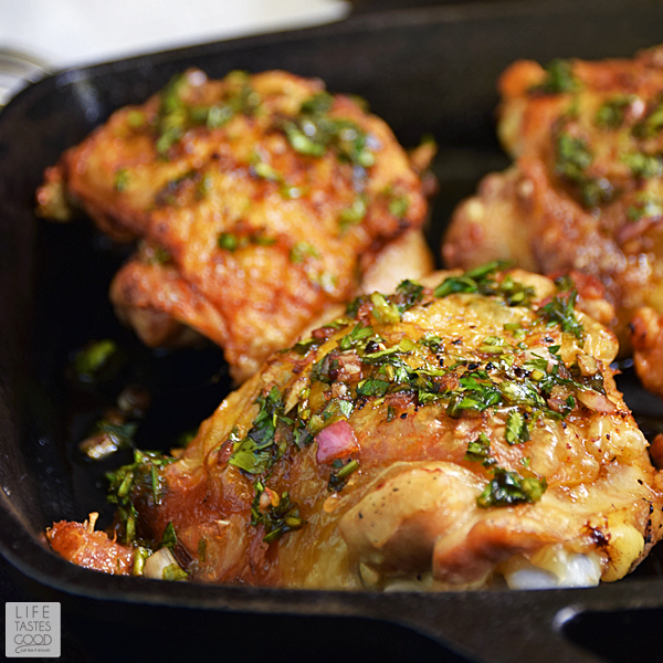 Chimichurri Chicken Thighs | by Life Tastes Good are easy to make, budget-friendly, and loaded with fresh flavors! The fresh herb Chimichurri Sauce has a slightly sweet, slightly tangy flavor that pairs nicely with the savory Pan-Roasted Chicken Thighs. #LTGrecipes