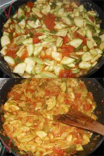 Aspecto de la mezcla con todos los ingredientes al comienzo de la cocción y al final.
