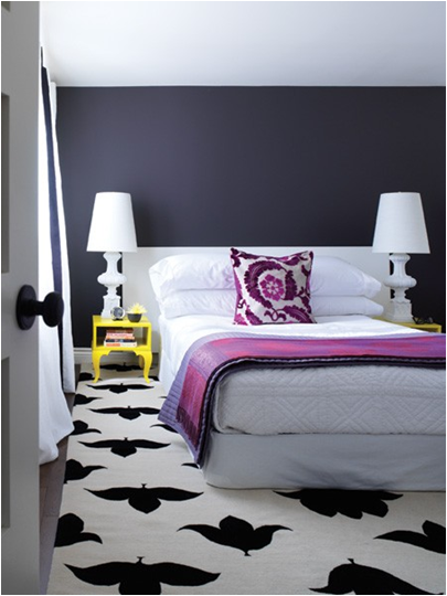 Purple White and Yellow Bedroom 405 x 540