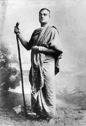Image of Swami Vivekananda — standing, as a wandering monk