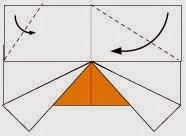 Bước 5: Gấp chéo hai góc của lớp giấy trên cùng xuống dưới.
