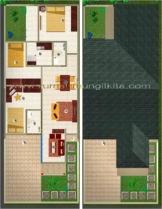 renovasi rumah dengan lebar 6 meter - denah 2 dimensi warna
