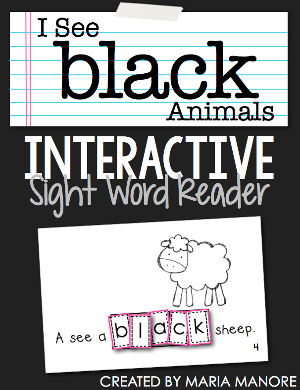 "emergent reader for sight word ""BLACK"""