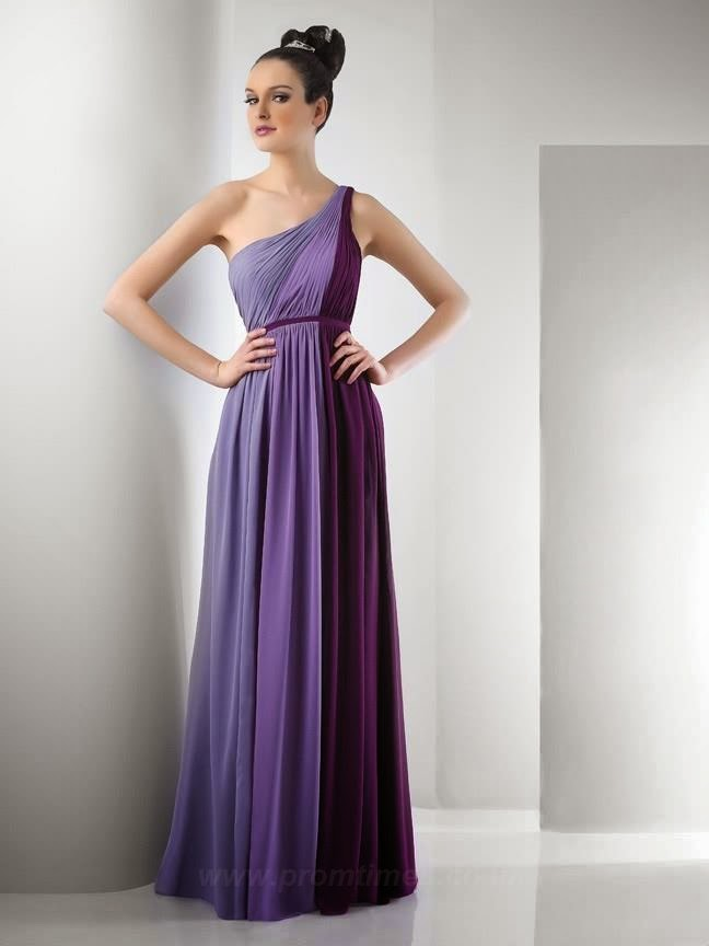 Purple One Shoulder Bridesmaids Dress