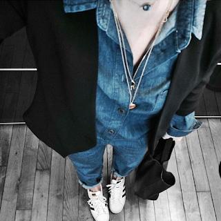 Juste juliette, blog mode, blog mode lille, fashion blogger, lille, la redoute, soft grey, combinaison en jean