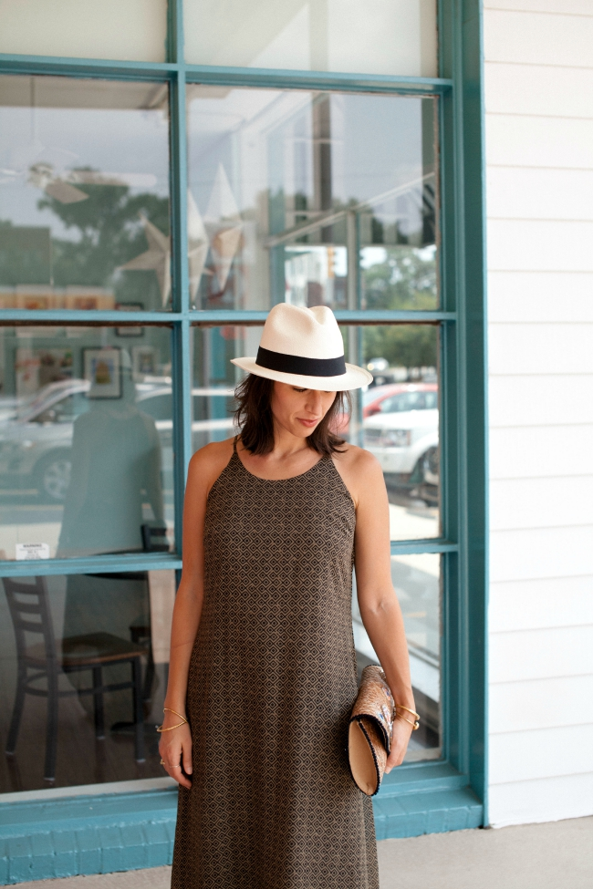 Panama hat, Maxi dress
