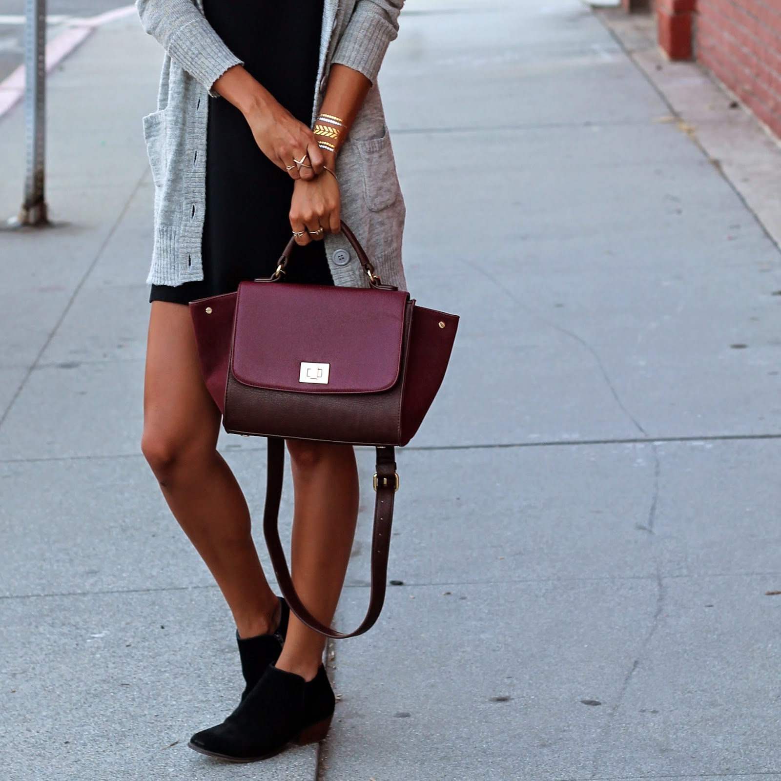dsw booties, fall fashion, how to layer for fall, LBD, sole society, stylist LA, flash tattoos