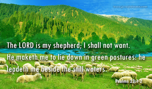 Bible wallpaper Psalms 23:1-2 - English