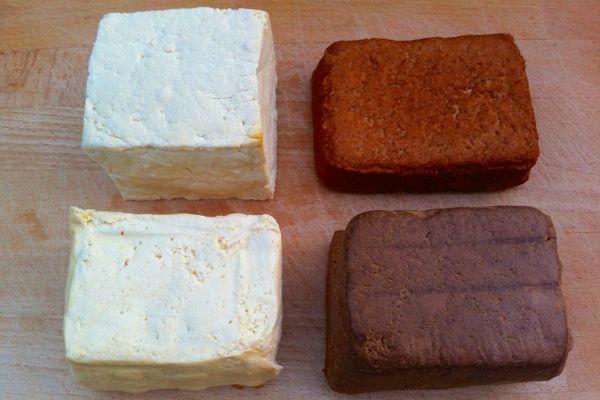 four types of smoked tofu