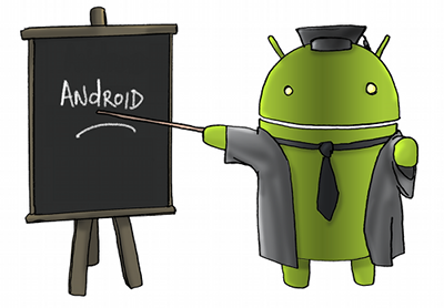 an-green-robot-dressed-as-a-teacher-and-pointing-to-a-table-that-has-Android-written-on-it