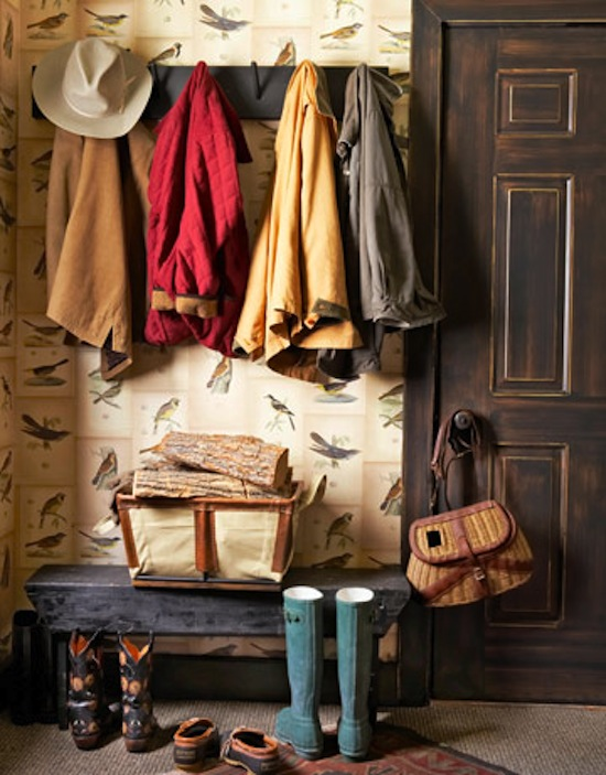 rustic entryway, mudroom area, Adirondack style decor