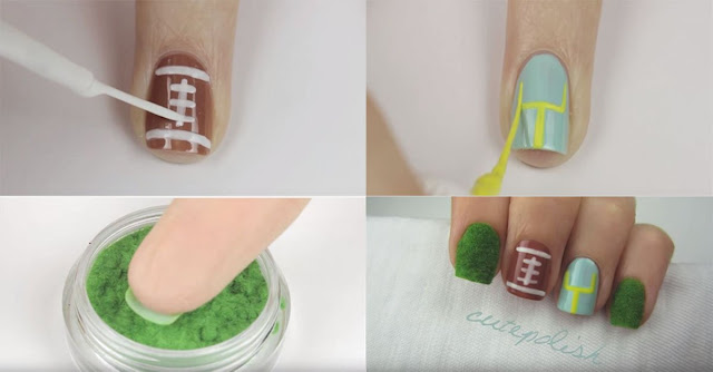 Celebrate The Superbowl In Style With This Football Nail Tutorial!